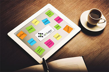 Post-Its auf Tablet